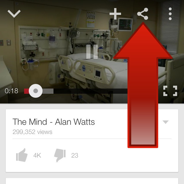 YouTube video Share Button on smartphone